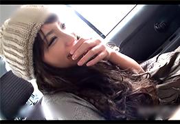 田舎で道を教えてくれたニット帽が可愛いお姉さんと車でH!