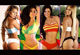 パラグアイモデル達がW杯2014の各国イメージのセクシー水着公開の画像です