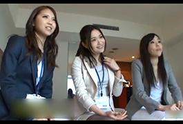 新宿のオフィス街でナンパした美人OL3人を高額謝礼で落として乱交!