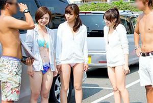 【素人】海に着くなり早速ノリのよさそうな美人女子大生3人組をナンパ!の画像です