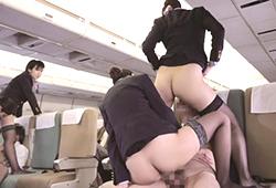 「制服・下着・全裸」でおもてなし またがりオマ○コ航空 4 逆3Pサービス便