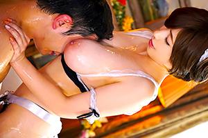 奥田咲 爆乳メイドがぬるぬるローションで射精管理