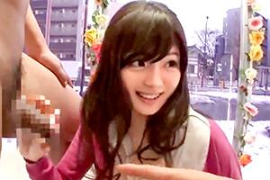 【マジックミラー号】人生初のデカチンに巻き髪JD大興奮!