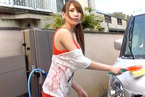 愛乃なみ Gカップを揺らしながら洗車中だったスタイル抜群のお姉さんをナンパハメ!
