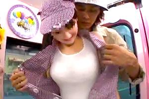 【マジックミラー号】巨乳いいね!看板娘として働く人妻の制服ガバーー!