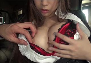 【蓮実クレア】巨乳で美人なエロカーディラー♡試乗中にカーセックス♡
