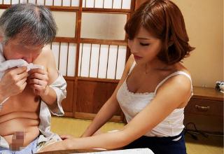 【明日花キララ】いやらしい手つきでじじいに手コキしてあげる巨乳お姉さん♪