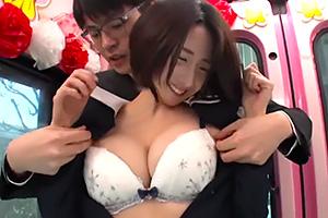 【マジックミラー号】卒業式終わりの神戸の巨乳JKをナンパ!
