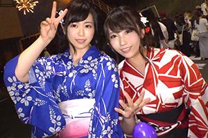 【ナンパTV】花火大会でナンパした美乳浴衣女子2人組をお持ち帰りした4PSEX動画