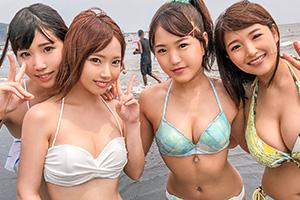 【海ナンパ】湘南ビーチでナンパ待ち!?の美巨乳ビキニ女子大生(4人組)との8P乱交SEX動画