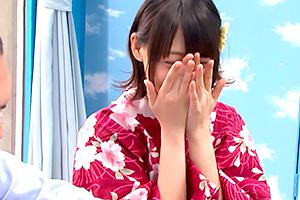 【マジックミラー号】恥じらいが可愛い浴衣美女が早漏チンポを励ます!