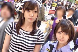 【ハロウィンナンパ】囚人とポリスの仮装女子2人組をお持ち帰りした4PSEX動画