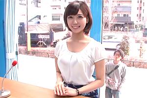 【マジックミラー号】彼氏持ちの巨乳女子大生に女子アナ研修で中出し!