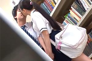 【レイプ】制服下はレーシングブルマ。図書館で彼氏とイチャつくJKを痴漢!