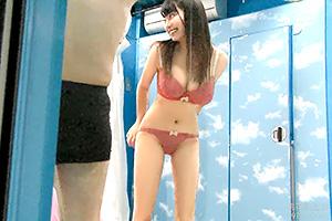【マジックミラー号】黒髪ロングの専門学生が早漏改善のお手伝い!