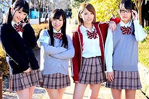 【JK】可愛い女子校生と思い出作りに教室で乱交セックス!