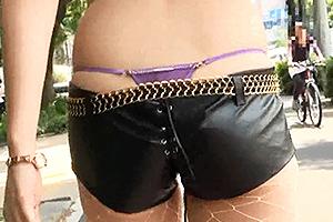 美山志穂 レザーのショートパンツからTバックがはみ出してるセクシーお姉さん!車でちんぽを濃厚フェラ!