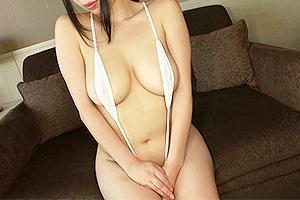 斉藤みゆ 乳輪と陰毛はみ出し寸前の大胆水着を着衣する人妻!爆乳を露出され3Pファック!