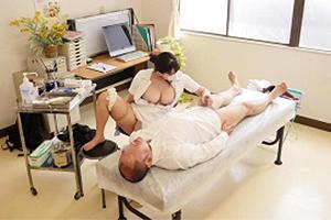 ED治療をしてくれる爆乳おっぱいの泌尿器科ナース!勃起したちんぽを騎乗位挿入で杭打ち