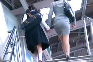 【一部始終】卒業式帰りの中×生と母親を駅から尾行してレイプ!