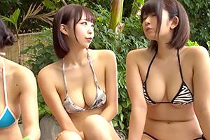 【乱交】南国のスパリゾートで出会った巨乳女子大生のプルプルおっぱい