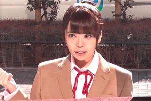 【マジックミラー号】バストが急成長中の美少女JKをおっぱい揉みインタビュー!