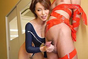 君島みお Tフロント競泳水着で生徒にお仕置で手コキする巨乳女教師!