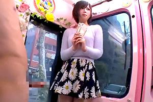 【マジックミラー号】高学歴女子大生に謝礼を渡してセルフイラマチオ!