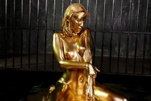 森沢かな 金粉まみれで奴隷セックスする清純系お姉さん。