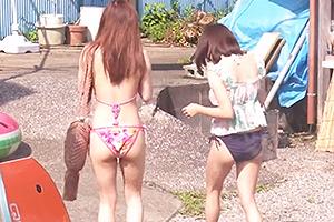 【マジックミラー号】水着姿のめちゃくちゃカワイイ女子2人組を海ナンパ!電マやチンポを使って4P乱交!
