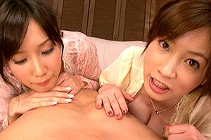 小島みなみ 奥田咲 ロリ美少女と巨乳お姉さん系の美女に責められるハーレム3P!