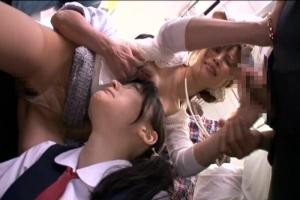 電車に乗っている美人な母親とJKの娘を痴漢達に囲まれて中出しレイプされてしまう
