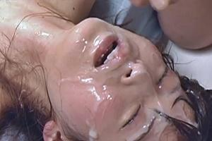南波杏 スレンダー美女がお口とマンコとアナル3穴同時に挿入され中出し&大量顔射