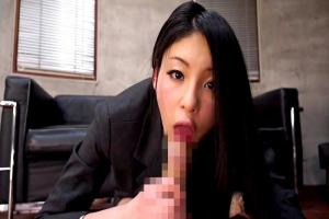 瀧川花音 黒髪スレンダーな美人秘書がOLスーツ姿で淫乱手コキ&フェラでドSに口内射精
