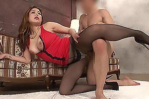 今藤霧子 麻生希 黒パンストの巨乳美女と着衣セックス!パンツの脇からちんぽ挿入でガン突きバック