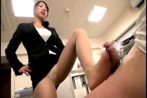 進藤由紀乃 ドSな女上司にちんぽを露出させられる!パンスト美脚で足責めされシックスナイン