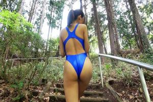 岩崎やよい ピタピタの競泳水着姿で野外散歩する変態アスリート!スポーツ女子のドMまんこに中出し