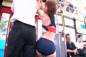 乙葉ななせ 星咲優菜 日焼けしたアスリート女子大生がバス内で逆痴漢!ブルマ姿になり騎乗位挿入