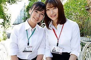 中山琴葉 宮崎リン 社内のアイドル同期の新人女子社員が男優相手に乳首舐めにフェラする3Pプレイ