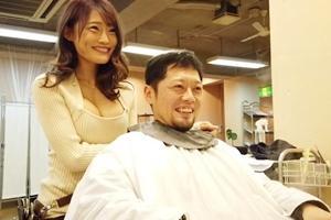 七海ひな 巨乳美女の美容師がベロチューしながら乳首を触ったり男根を手コキしてザーメン絞り出す!