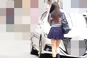 【蜃気楼】【素人】K25ちゃん 黒髪ロングのセーラー服お嬢様JKを追跡!美脚と純白パンツを盗撮しちゃう