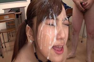 優菜真白Gカップ爆乳のツインテール美少女!フル勃起したちんぽに囲まれ濃厚ザーメン顔射