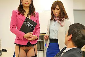 洗脳ドリルを使いオフィスの女達を性奴隷化!肉棒をダブルフェラする巨乳熟女をガン突き