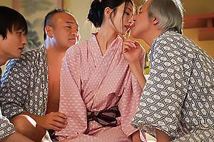本庄鈴 会社の先輩達に浴衣姿の美人妻を寝取られる!他人ちんぽでガン突きされ濃厚ザーメン顔射