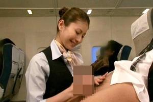 紗奈 美人な客室乗務員が飛行機内で手コキフェラから騎乗位と立ちバックでご奉仕サービス
