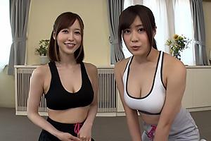 篠田ゆう,はるかみらい 美人トレーナーが屈伸パンチラ挑発のスポブラから胸の谷間でデカ尻強調
