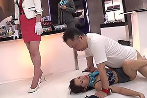 早川瑞希 大浦真奈美 デパートで美容部員を時間停止!肉棒をぶち込み勝手にザーメン中出し
